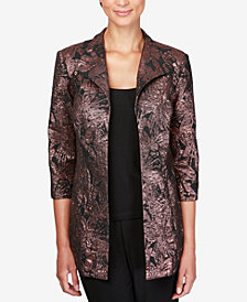 Alex Evenings Petite Foil-Detail Jacket & Solid Top Set