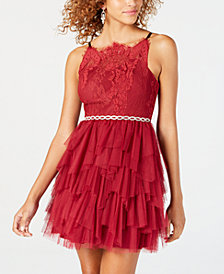 Dear Moon Juniors' Ruffled Lace Fit & Flare Dress