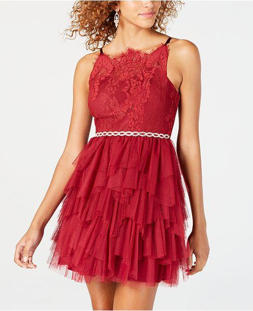 cf27c6e62e1 Dear Moon Juniors  Ruffled Lace Fit   Flare Dress - Dresses ...