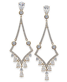 Danori Silver-Tone Crystal Drop Earrings, Created for Macy's