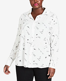 City Chic Trendy Plus Size Printed Phrases Shirt