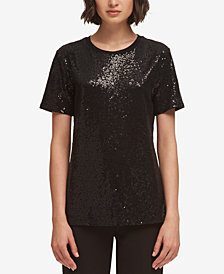 DKNY Sequin Crew-Neck T-Shirt