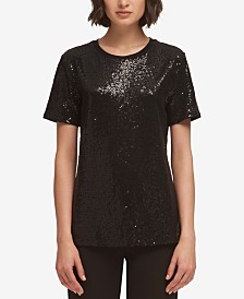 DKNY Sequin Crew-Neck T-Shirt