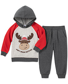 Kids Headquarters Little Boys Moose Hoodie & Joggers Set
