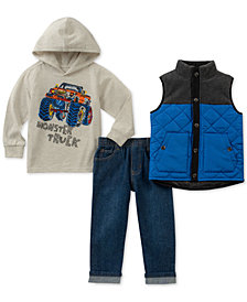 Kids Headquarters Little Boys Monster Truck 3-Pc. Hoodie, Jeans & Vest Set