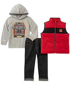 Kids Headquarters Little Boys Firetruck Hoodie, Vest & Pant Set