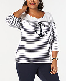 Karen Scott Plus Size Embellished Anchor Top, Created for Macy's