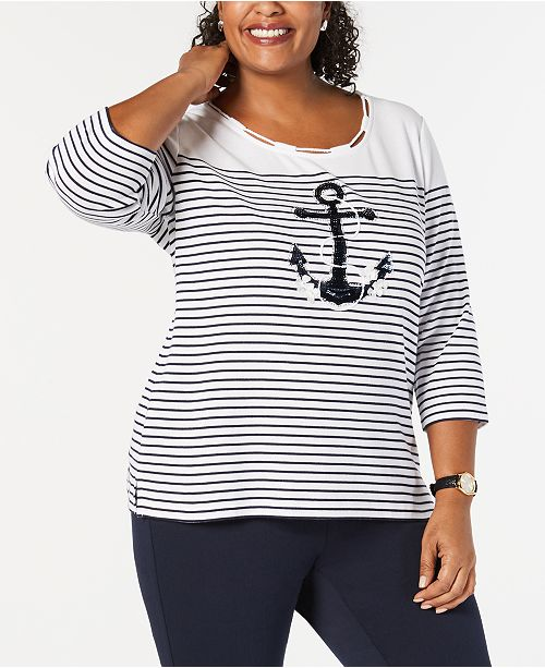 f1f54abe2d86d ... Karen Scott Plus Size Embellished Anchor Top