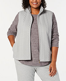 Karen Scott Plus Size Sherpa-Collar Vest, Created for Macy's