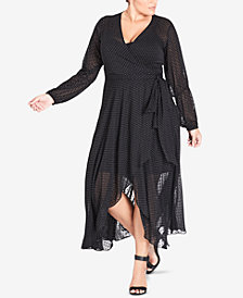 City Chic Trendy Plus Size Polka-Dot Wrap Dress