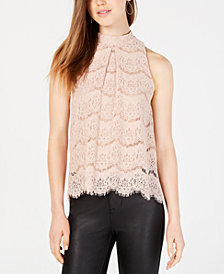 Material Girl Juniors' Scalloped Eyelash Lace Top, Created for Macy's