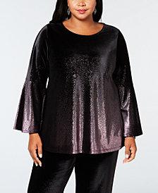 Alfani Plus Size Metallic Velvet Top, Created for Macy's