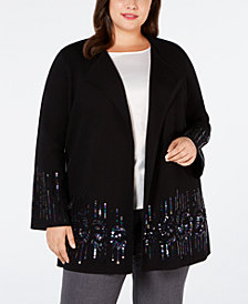 Alfani Plus Size Placed-Sequin Cardigan, Created for Macy's
