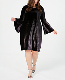 Alfani Plus Size Velvet A-Line Dress, Created for Macy's