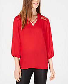 BCX Juniors' Lace-Trim Crisscross Top