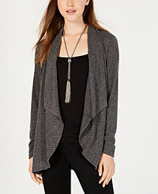 BCX Juniors' Rib-Knit Waterfall-Front Cardigan