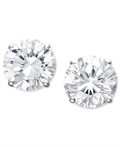 Certified Colorless Diamond Stud Earrings in 18k White Gold (1-1/2 ct. t.w.)