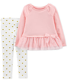 Carter's Toddler Girls 2-Pc. Tulle Peplum Top & Leggings Set