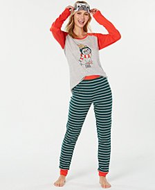 Jenni by Jennifer Moore Knit Pajama Top, Pants & Eyemask Set, Created for Macy's