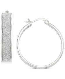 Simone I. Smith Glitter Hoop Earrings in Sterling Silver
