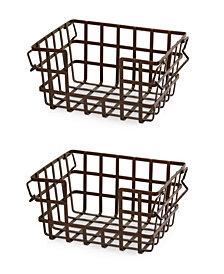 Iron Slat Stacking & Nesting Storage Baskets, 2 Piece Set