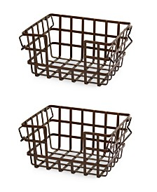 Seville Classics Iron Slat Stacking & Nesting Storage Baskets, 2 Piece Set