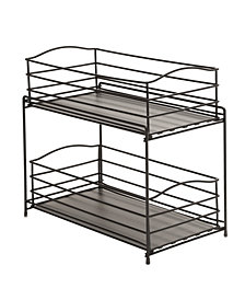 Stackable 3 Tier Sliding Double Basket Cabinet Organizer with Liners