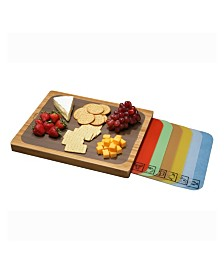 Seville Classics Bamboo Cutting Board And 7 Multi Color Cutting Mats