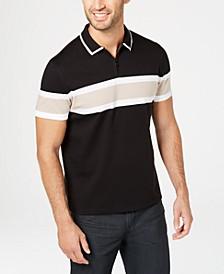 Men's Regular-Fit Stripe Quarter-Zip Polo, Created for Macy's