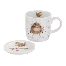 "Royal Worcester Wrendale 11 oz. Bird Mug & Coaster ""Flying the Nest"""