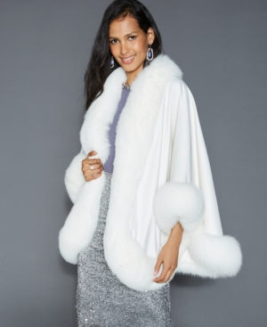 1930s Style Coats, Jackets | Art Deco Outerwear The Fur Vault Fox-Fur-Trim Cashmere Cape $1,605.99 AT vintagedancer.com