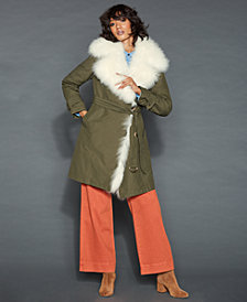 The Fur Vault Lamb-Fur-Trim Rabbit-Lined Coat