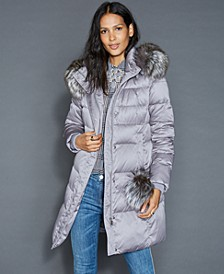 Fox-Fur-Trim Puffer Coat