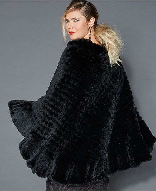 43ec3280cae The Fur Vault Plus Size Knitted Rabbit Fur Poncho   Reviews - The ...