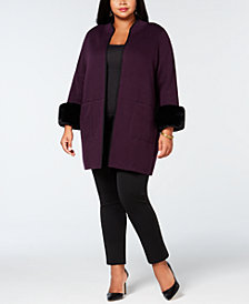 Alfani Plus Size Faux-Fur-Cuff Cardigan, Created for Macy's