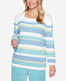 Alfred Dunner Simply Irresistible Striped Textured Sweater