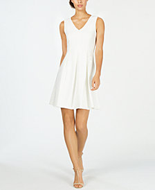 Calvin Klein Petite Illusion-Back Fit & Flare Dress