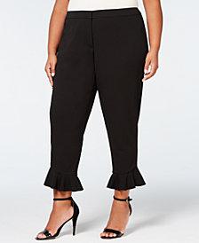 Calvin Klein Plus Size Ruffle-Hem Scuba Pants
