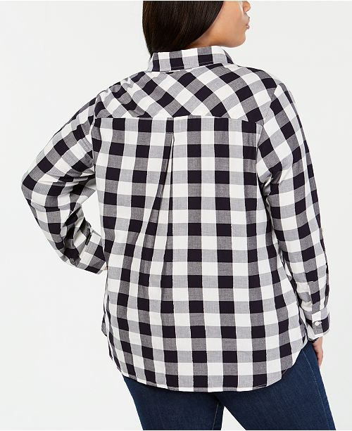 15447fa201f Tommy Hilfiger Plus Size Cotton Plaid-Check Top
