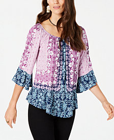 Style & Co Off-The-Shoulder Floral-Print Top, Created for Macy's