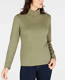 Karen Scott Petite Long-Sleeve Cotton Turtleneck, Created for Macy's