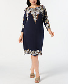 JM Collection Plus Size Embellished Printed Dress, Created for Macy's
