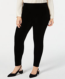 JM Collection Plus Size Velvet Leggings, Created for Macy's