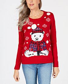 Karen Scott Petite Appliqué Bear-Graphic Sweater, Created for Macy's