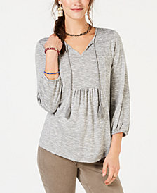 Style & Co Petite Pleated Tassel-Tie Top, Created for Macy's