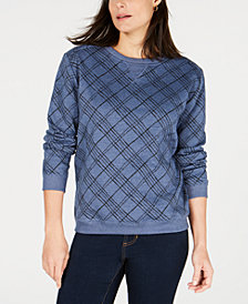 Karen Scott Petite Plaid Sweatshirt, Created for Macy's