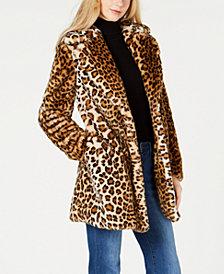 Calvin Klein Leopard-Print Faux-Fur Walker Coat