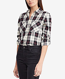 Lauren Ralph Lauren Twill Plaid Cotton Shirt