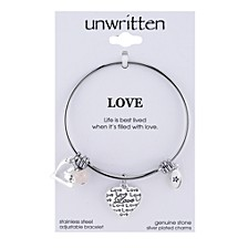 Love Charm and Rose Quartz (8mm) Bangle Bracelet in Stainless Steel with Silver Plated Charms