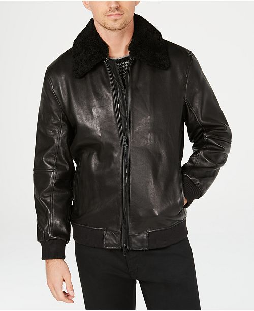 6c18d92b6d ... Kenneth Cole New York Kenneth Cole Mens Leather Jacket with Shearling  Collar ...